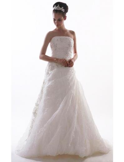 Princess/A-Line Strapless Chapel train Satin wedding dress for brides new style(WD09)