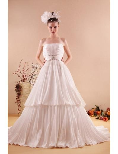 Princess/A-Line Strapless Sweeping train Satin Taffeta wedding dress for brides new style(WD07)