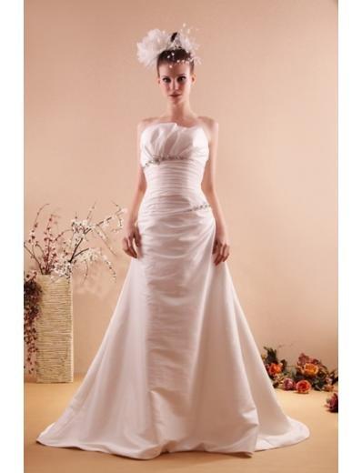 Princess/A-Line Strapless Chapel train Satin Taffeta wedding dress for brides new style(WD06)