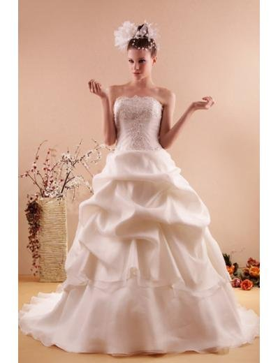 Ball Gown Strapless Chapel train Satin wedding dress for brides new style(WD04)