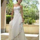 A-Line Princess Spaghetti Chapel Train Organza wedding dress (WS2102)