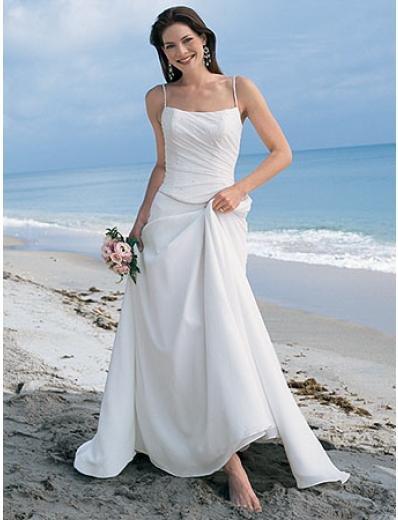 A-Line Princess Spaghetti Chapel Train Organza wedding dress (WS2112) for brides new style
