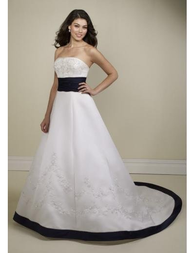 A-line/Princess Strapless Cathedral Satin wedding dress (WDA34) for brides new style