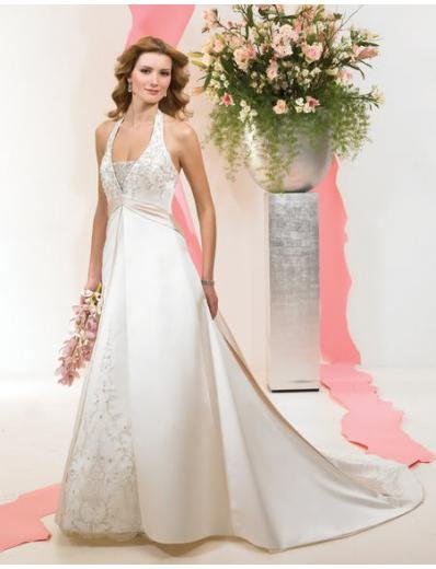 A-line/Princess Halter Top Chapel Train Satin wedding dress (WDA33) for brides new style