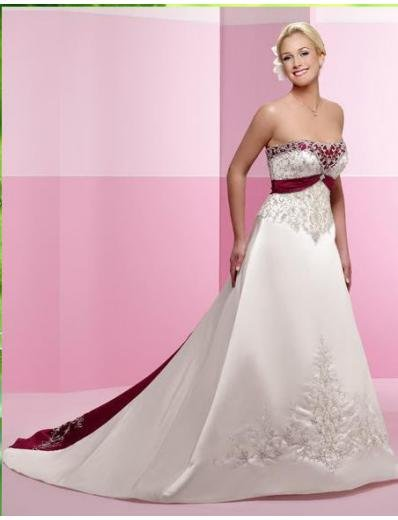 A-line/Princess Strapless Cathedral Train Satin wedding dress (WD22) for brides new style