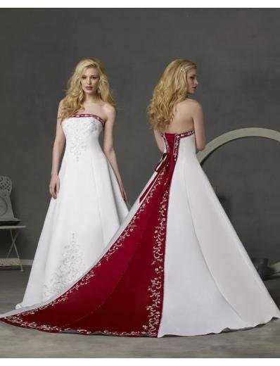 A-line/Princess Strapless Cathedal Train Satin wedding dress (WD23) for brides new style