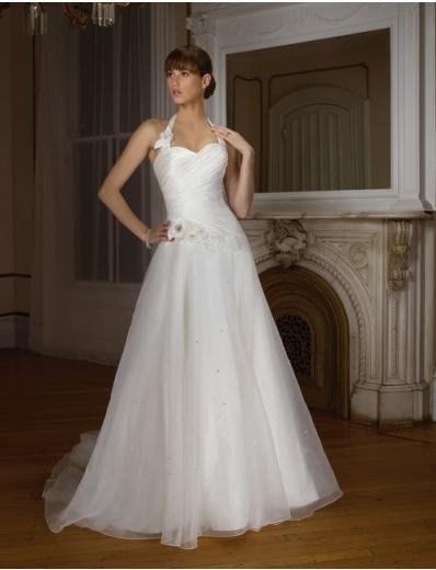 A-line/Princess Halter Top Cathedral Train Taffate Organza wedding dress (WD27) for brides new style