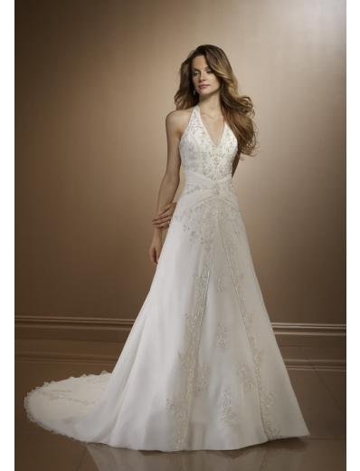A-line/Princess V-neck Cathedal Train Satin wedding dress(WD28) for brides new style