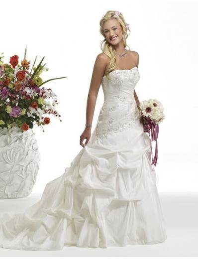 A-line/Princess Strapless Cathedral Satin wedding dress (WD29) for brides new style
