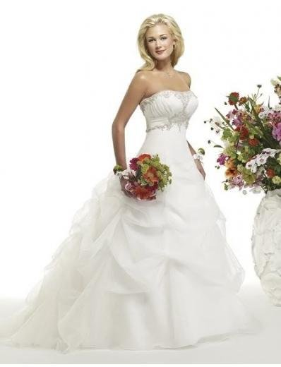 A-line/Princess Strapless Chapel Train Satin wedding dress (WDA30)  for brides new style
