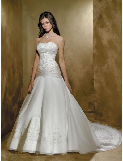 A-line/Princess Strapless Cathedral Train Satin wedding dress (WDA32) for brides new style