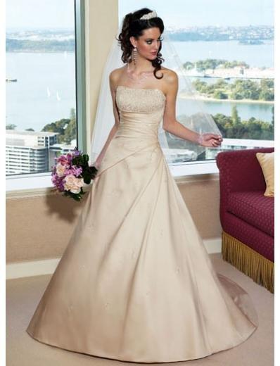 A-Line/Princess Strapless Chapel Train Taffeta wedding dress (WS2101) for brides new style