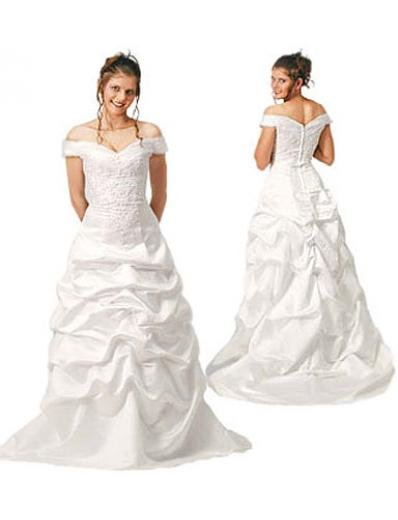 A-Line/Princess Off-the-shoulder Chapel Train Satin wedding dress (WD8484) for brides new style