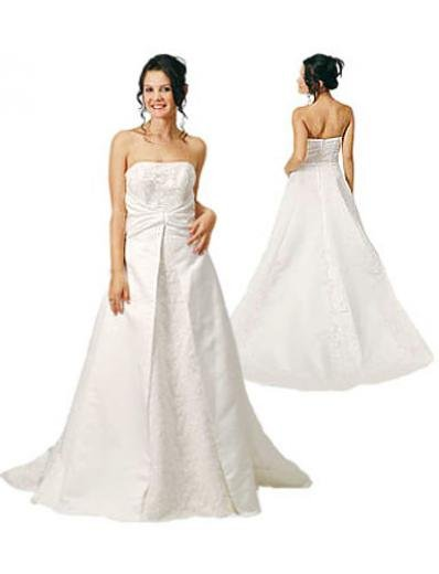 A-Line/Princess Strapless Chapel Train Satin wedding dress (WD5030) for brides new style