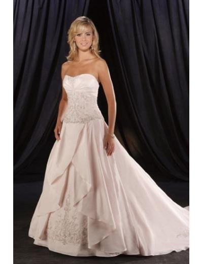 A-Line/Princess Strapless Cathedral Train Satin wedding dress (WD1325) for brides new style