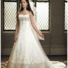 A-Line/Princess Strapless Cathedral Train Satin wedding dress (WD1141) for brides new style