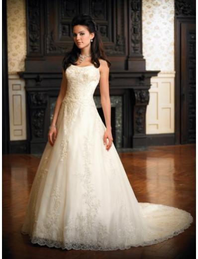 A-Line/Princess Bateau Chapel Train Organza wedding dress (WD1120) for brides new style