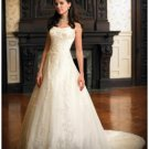 A-Line/Princess Bateau Chapel Train Organza wedding dress (WD1120) for brides new style
