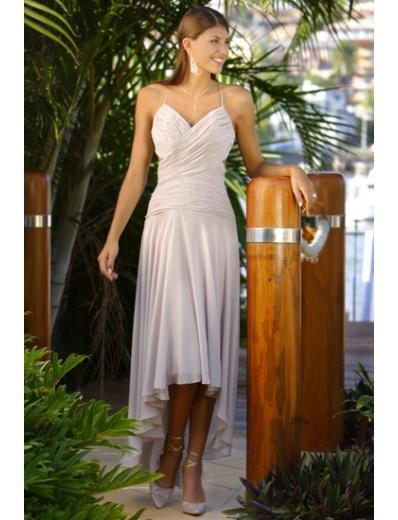 A-Line/Princess spaghetti straps Chapel Train Chiffon wedding dress (WS0073) for brides new style