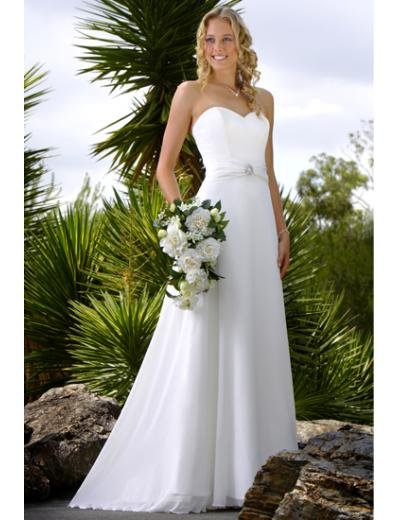 A-Line/Princess Strapless Chapel Train Chiffon wedding dress (WS0074)  for brides new style
