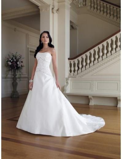 A-Line/Princess Strapless Cathedral Train Satin wedding dress (WD1145) for brides new style