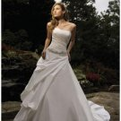 A-Line/Princess Strapless Cathedral Train Satin wedding dress (WD1296) for brides new style