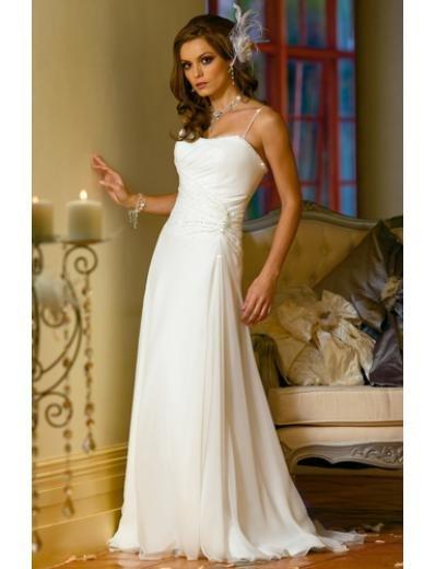 A-Line Princess Spaghetti Chapel Train Organza wedding dress (WS2008) for brides new style