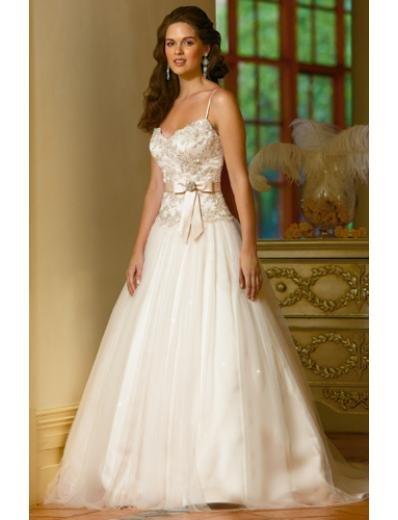 A-Line Princess Spaghetti Chapel Train Organza wedding dress (WS2006) for brides new style