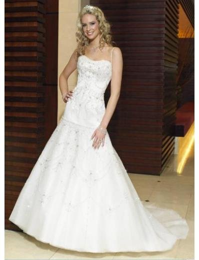 A-Line/Princess Strapless Chapel Train Taffeta wedding dress (WS1194) for brides new style