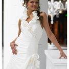 A-Line/Princess Halter top Chapel Train Satin wedding dress (WS1192) for brides new style