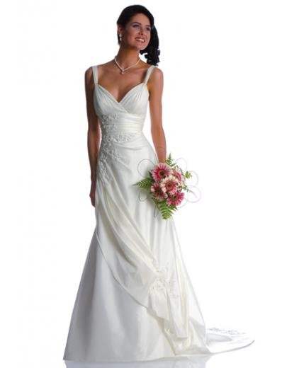 A-Line/Princess V-neck Chapel Train Satin wedding dress (WS1190) for brides new style
