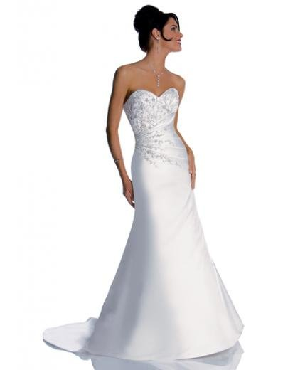 A-Line/Princess Sweetheart Chapel Train Satin wedding dress (WS1191) for brides new style