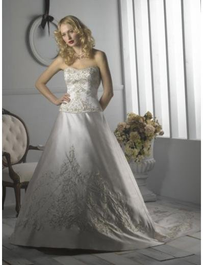 A-Line/Princess Strapless Cathedral Train Satin wedding dress for brides (WDS1176)