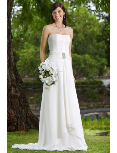 A-Line/Princess Strapless Chapel Train Chiffon wedding dress (WS0077)