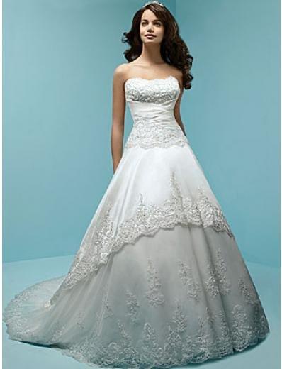 A-Line/Princess Strapless Chapel Train Taffeta,Lace wedding dress (WS0039)