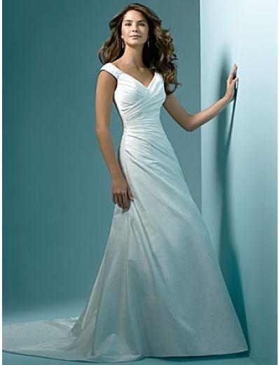 A-Line/Princess V-neck Chapel Train Taffeta wedding dress (WS0008)