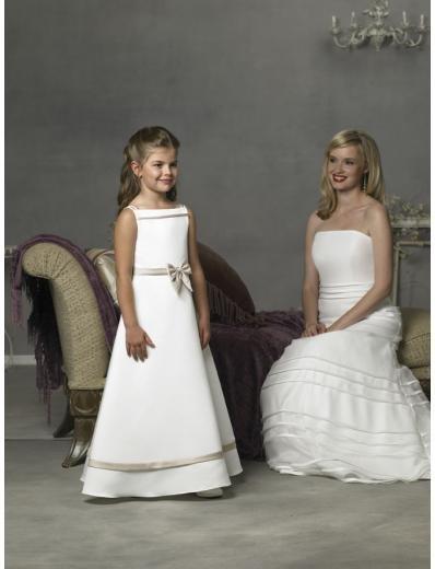 A-line Off-the-shoulder Tea-length Satin Flower girls Dress 2010 style(FGD0074)