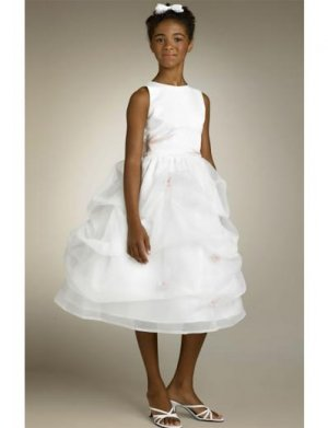 A-line Bateau Tea-Length Organza Flower Girl Dress 2010 style(FGD0123)