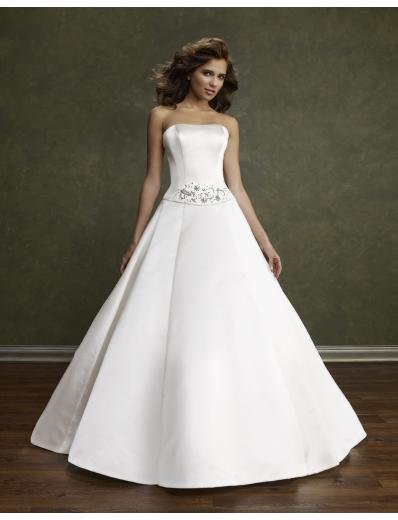 A-Line/Princess Strapless Chapel Train Satin wedding dress(WEDS0007) for brides new style