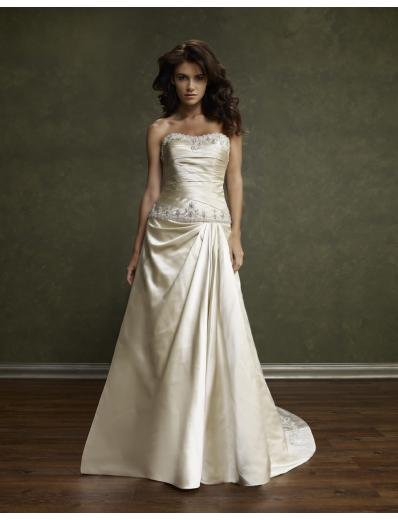 A-Line/Princess Strapless Chapel Train Satin wedding dress(WEDS0008) for brides new style