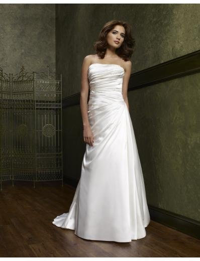 A-Line/Princess Strapless Chapel Train Satin wedding dress(WEDS0009) for brides new style