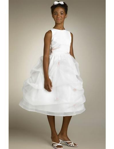 A-line Bateau Tea-Length Organza Flower Girl Dress 2010 style(FGD0123)