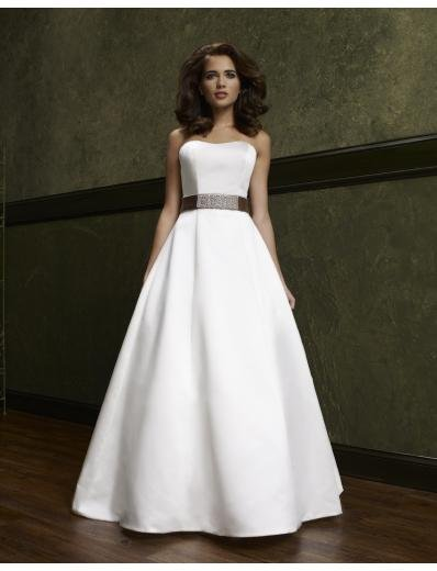 A-Line/Princess Strapless Chapel Train Satin wedding dress(WEDS0012) for brides new style