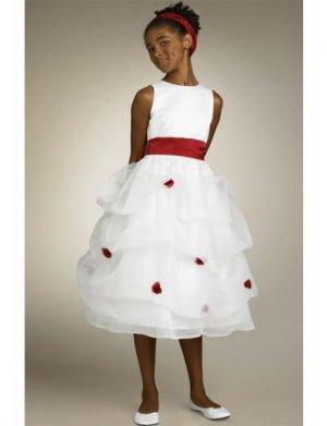 A-line Round-neck Tea-Length Organza Flower Girl Dress 2010 style(FGD0124)