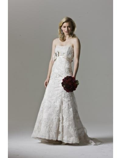A-Line/Princess Strapless sweeping Train Lace wedding dress(WEDS0013) for brides new style