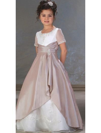 A-Line Round-neck Floor- Length Satin Flower girls Dress NEW Style(FGD0016)