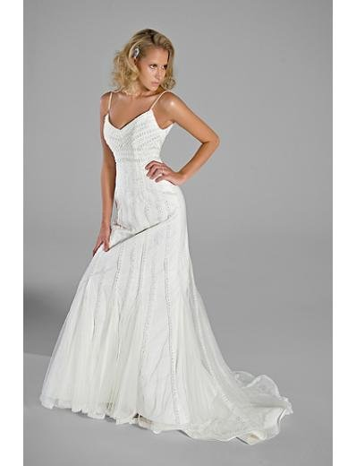 A-Line/Princess V-neck chapel train Soft Satin Tulle wedding dress(WEDS0014) for brides new style