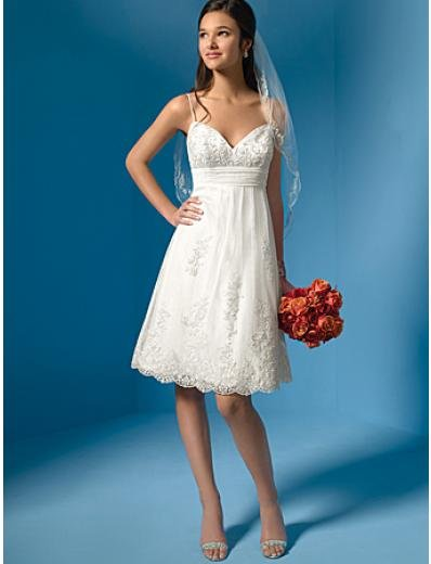 A-Line/Princes spaghetti straps knee-length Lace wedding dress(BST0061) for brides new style