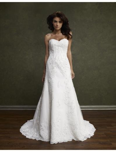 A-Line/Princess Sweetheart Chapel Train Satin Lace wedding dress(WEDS0006) for brides new style