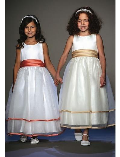 A-Line Round-neck Tea-length Organza Flower girls Dress NEW Style(FGD0035)